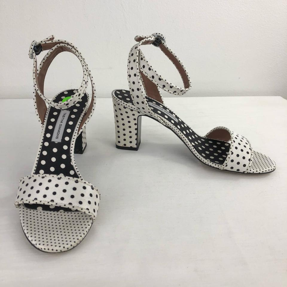 f47192b242dd Tabitha Simmons White 38 Black Polka Dot Heels Sandals Size US 8 Regular  (M