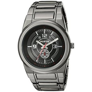 Unlisted by Kenneth Cole 10024649 Men's Grey Steel Bracelet With Black Analog Dial Watch