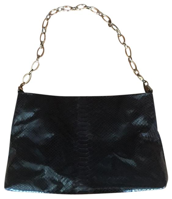 Item - Python Gold Chain Black Leather Shoulder Bag