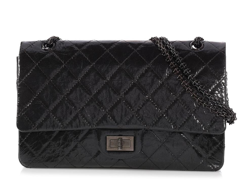 77127f5a0b9a Chanel 2.55 Reissue 227 Double Flap So Black Patent Leather Shoulder ...