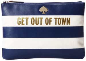 Kate Spade Get Out Of Town Gia French Navy Cream Clutch
