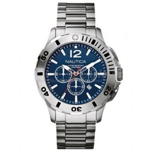 Nautica A23597G Men's Silver Steel Bracelet With Blue Analog Dial Watch