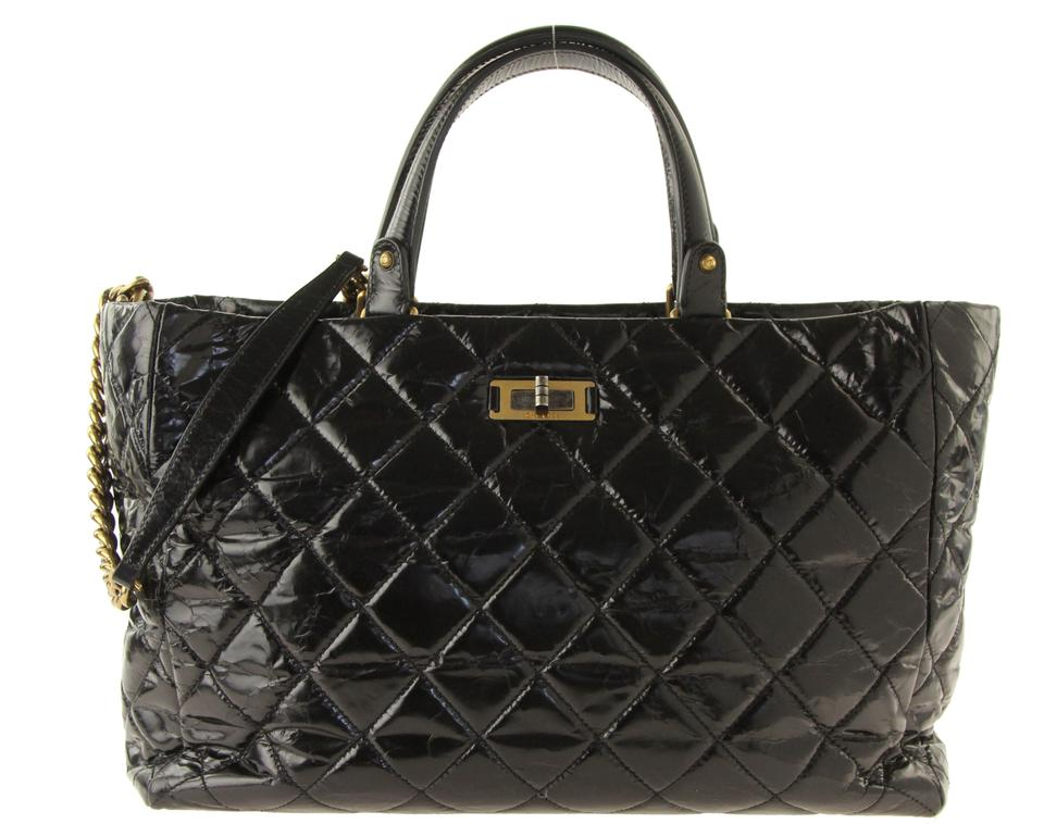 Chanel 2.55 Reissue Quilted Glazed Crackled Black Leather Tote - Tradesy