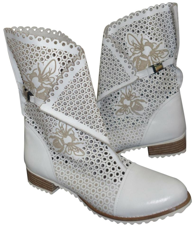 e7bcb4c5de5 White Genuine Leather Laser Cut Western Cowboy Ankle Boots/Booties Size EU  38 (Approx. US 8) Regular (M, B) 84% off retail