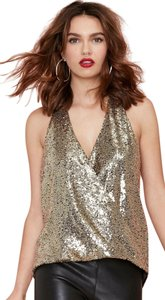 NASTY GAL Metallic Sequin Crossover Oversized Drape Back Strap Open Back Lined Sexy Top Gold
