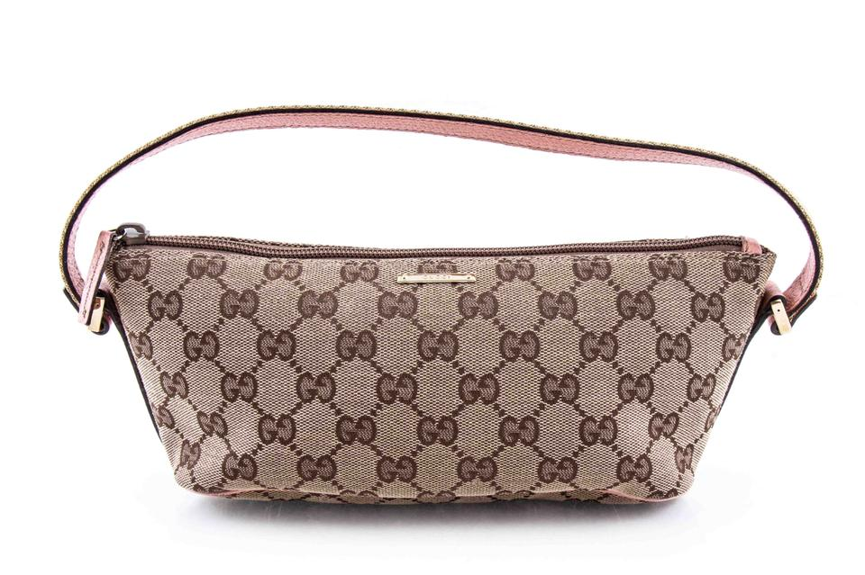 aff2d77b5f1 Gucci Gg Monogram Pink Pochette Brown Canvas Shoulder Bag - Tradesy