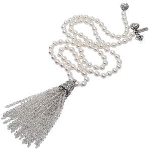 Oscar by Oscar de la Renta Oscar de la Renta Glass Pearl and Crystal Tassel Necklace