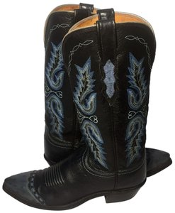 Lucchese Ostrich Size 7 Women Size 7 Cowgirl Size 7 Black Blue Boots