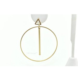 Cära Couture Jewelry CARA HOOP BAR AND TRIANGLE GOLD POST EARRING (SINGLE)