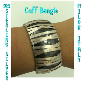 Milor 925 STER Silver Hammered Oxidized Finish Wire Wrap Cuff Bangle 6""