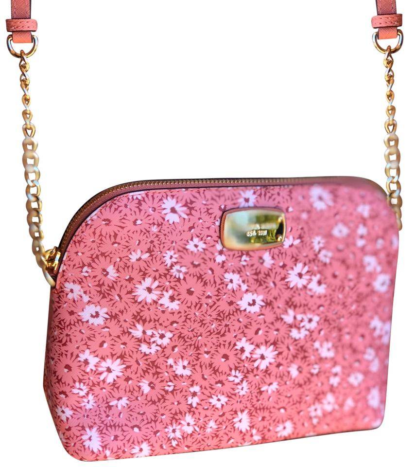 5faba2b0f871 Michael Kors Cindy Dome Floral Peach Leather Cross Body Bag - Tradesy