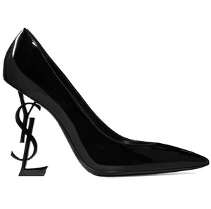 Saint Laurent Ysl Heel Made In Italy Luxury Patent Leather Pointed Toe Black Pumps