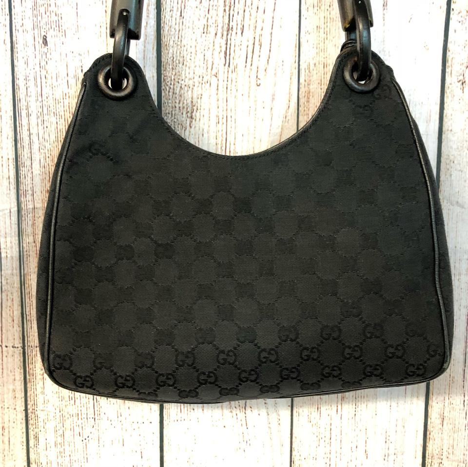 Gucci Wood Handle Black Canvas Shoulder Bag