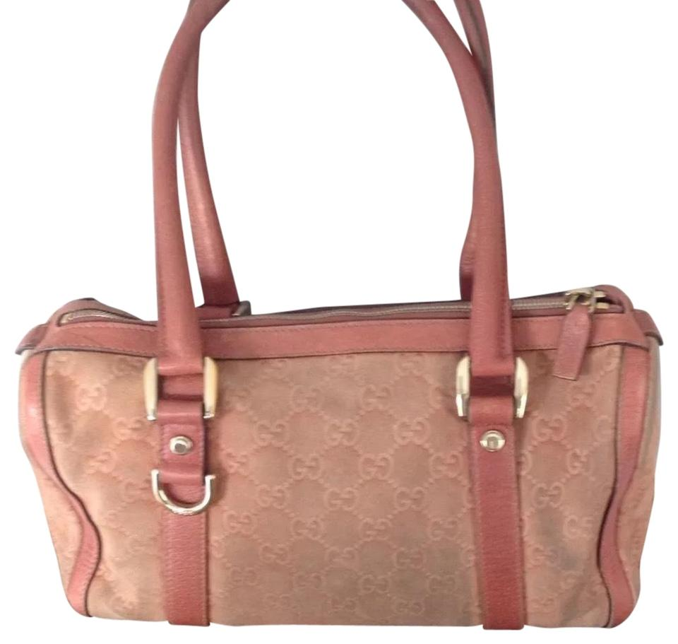 8959e51e22d Gucci Boston Gg Print On Pink with Gold Hardware Suede and Leather Shoulder  Bag
