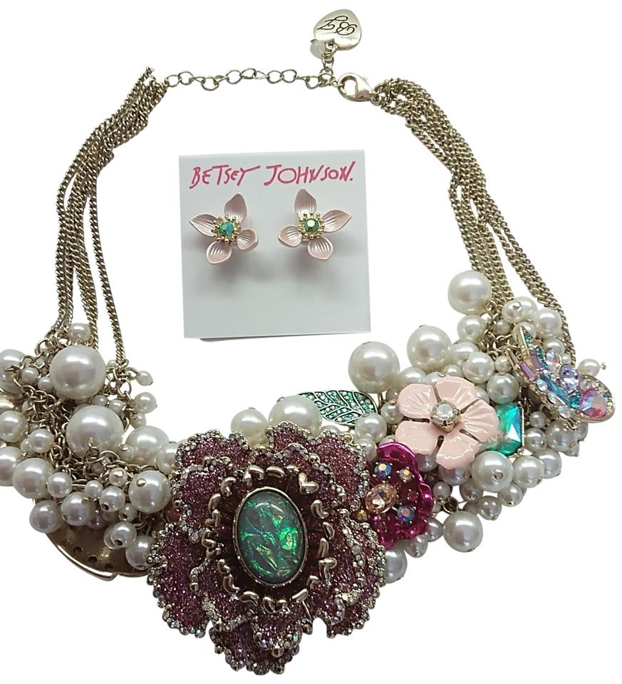 Betsey Johnson Pink New Flower Necklace And Earrings Tradesy