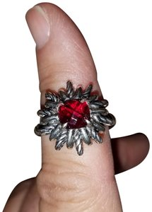 David Yurman Sterling Silver and Garnet Starburst