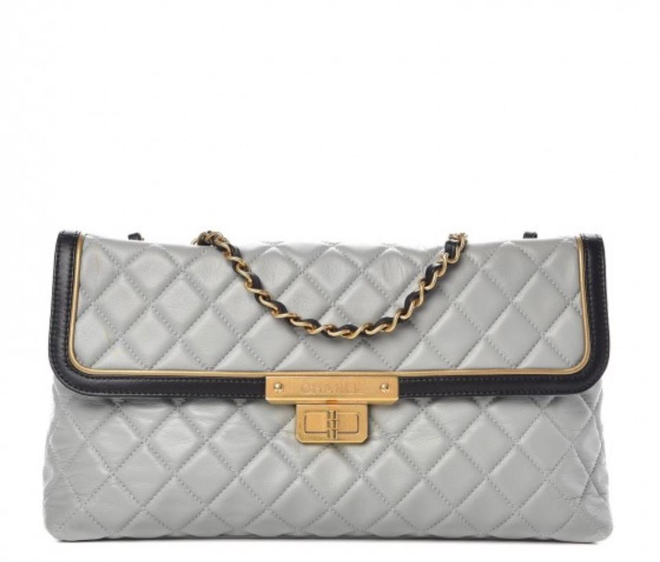 f3c90195b13d Chanel 2.55 Reissue East West Quilted Flap Light Grey Tri Color ...