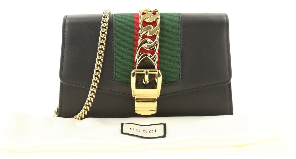 c4959b527aa3 Gucci Chain Wallet Sylvie Super Mini Black Leather Cross Body Bag ...