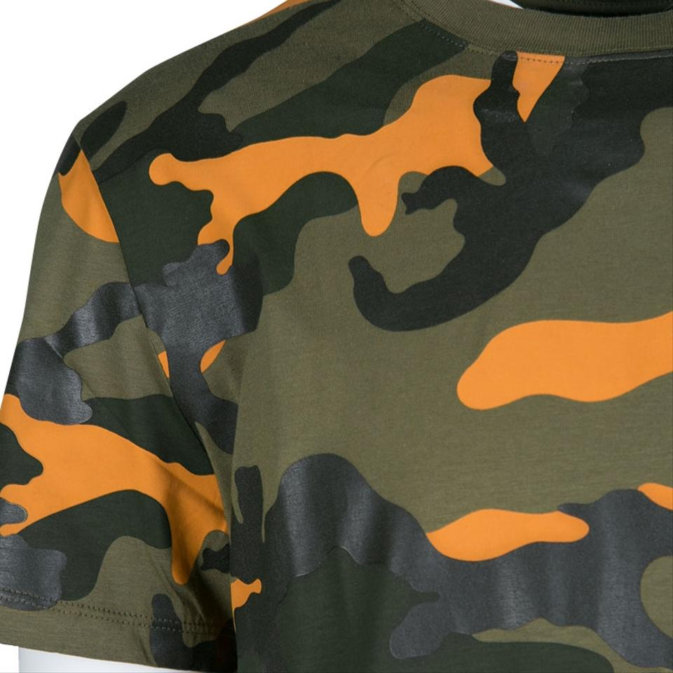 e718db9a Valentino Green Olive Orange Camouflage Print Crew Neck T-shirt L ...