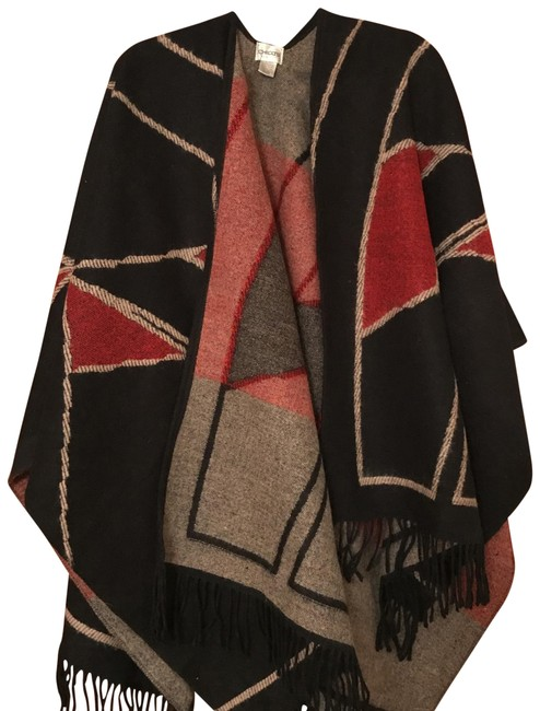 Item - Black Red and Cream Woven Ruana Poncho/Cape Size OS (one size)
