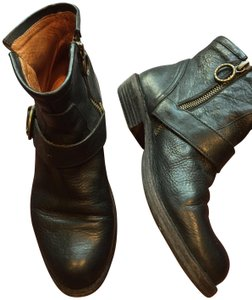 Fiorentini + Baker Leather Motorcycle Buckle black Boots