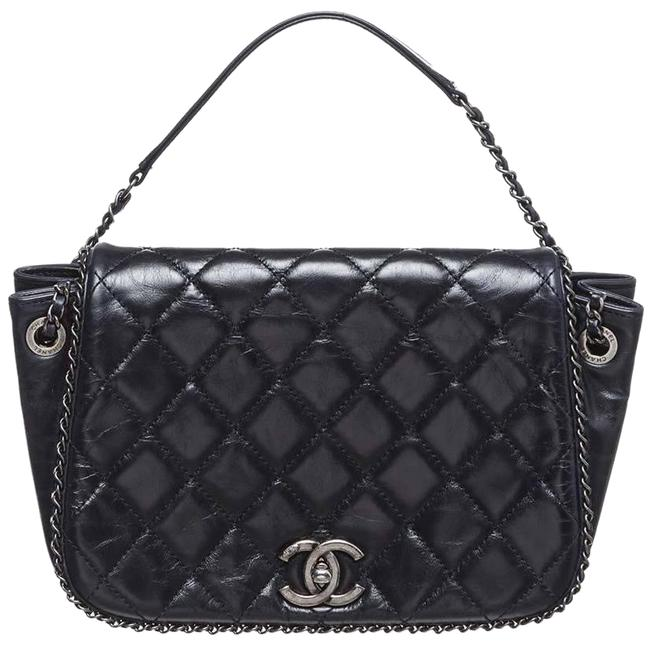 Chanel Classic Flap Crossbody Enchained Accordion Expandable Quilted Cc Logo Black Calfskin Leather Shoulder Bag Chanel Classic Flap Crossbody Enchained Accordion Expandable Quilted Cc Logo Black Calfskin Leather Shoulder Bag Image 1