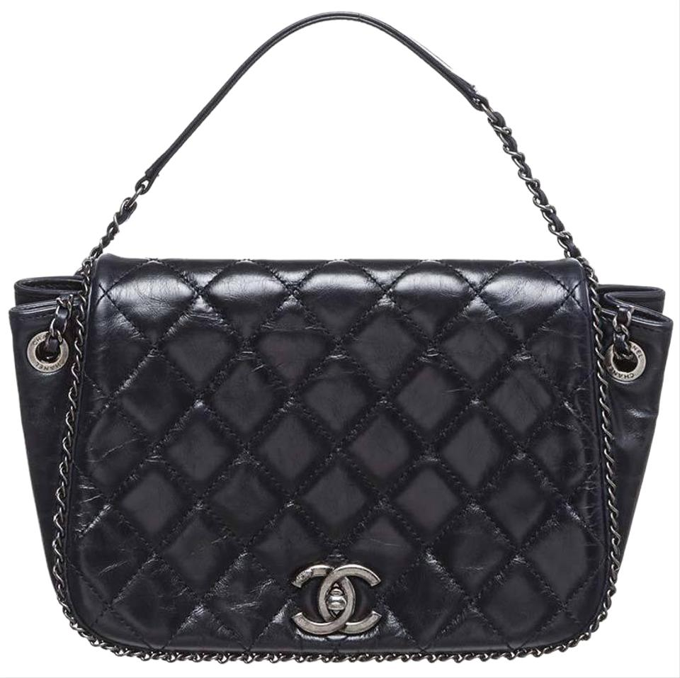 82838e61471748 Chanel Classic Flap Enchained Accordion Expandable Quilted Cc Logo Crossbody  Black Calfskin Leather Shoulder Bag