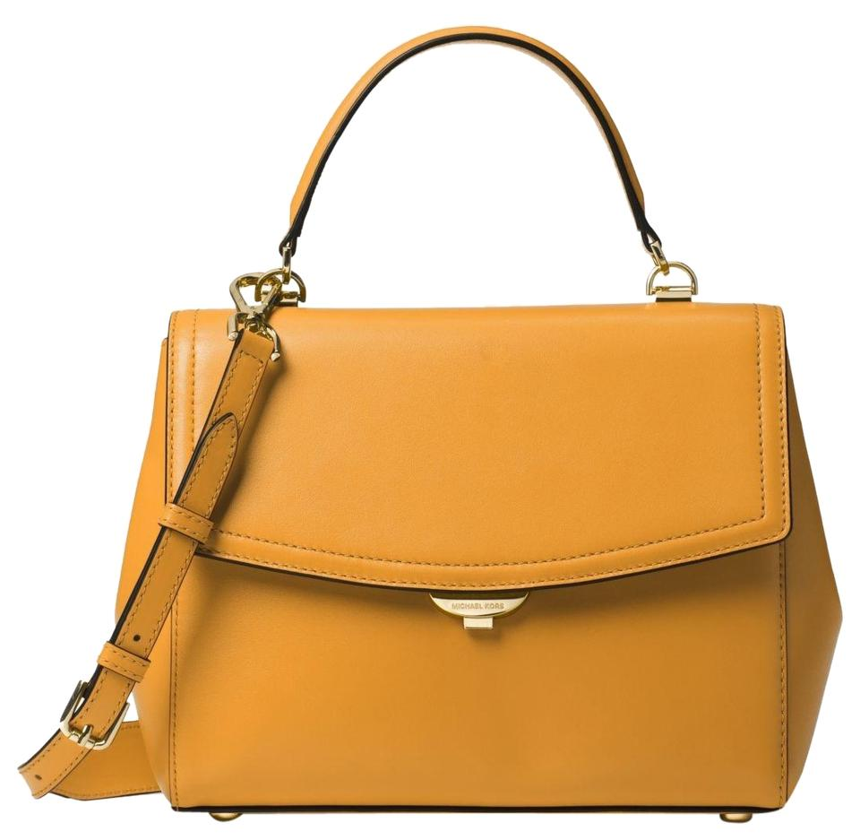 bc15e81792ea Michael Kors Ava Medium 30t8gavs2l Marigold Leather Satchel - Tradesy