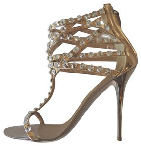 Giuseppe Zanotti Giueseppe Gold Rose Gold Jeweled Crystal Heels Metallic Sandals