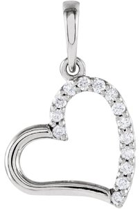 Apples of Gold HALF-DIAMOND HEART NECKLACE, 14K WHITE GOLD