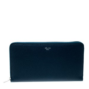 Céline Navy Blue Leather Zip Around Wallet
