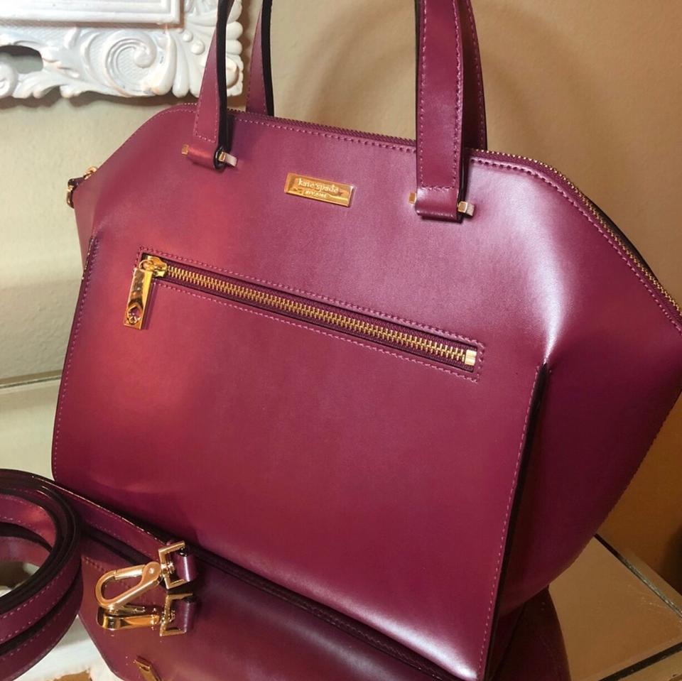 290da724c492 Kate Spade Savannah Parliament Square Wkru3115 Plum Red Maroon Genuine Real  Leather Satchel - Tradesy