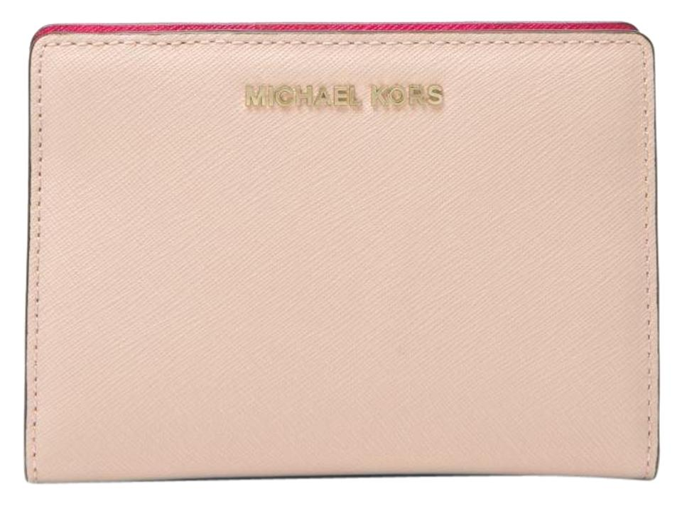 6073be661e71c6 Michael Kors Wallet Leather Pink/Ultra 32s8gf6d6l Wristlet in Soft pink/Ultra  pink Image ...