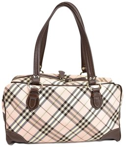 Burberry London Nova Leather Check Brown Shoulder Bag