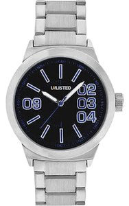 Unlisted by Kenneth Cole UL1254 Men's Silver Steel Bracelet With Black Analog Dial Watch