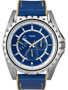 Timex T2N111 Men's Blue Leather Band With Blue Analog Dial Watch