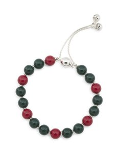 "Gucci Red Green & Silver ""Britt"" Sterling Bamboo Bead Signature Colors Bracelet"
