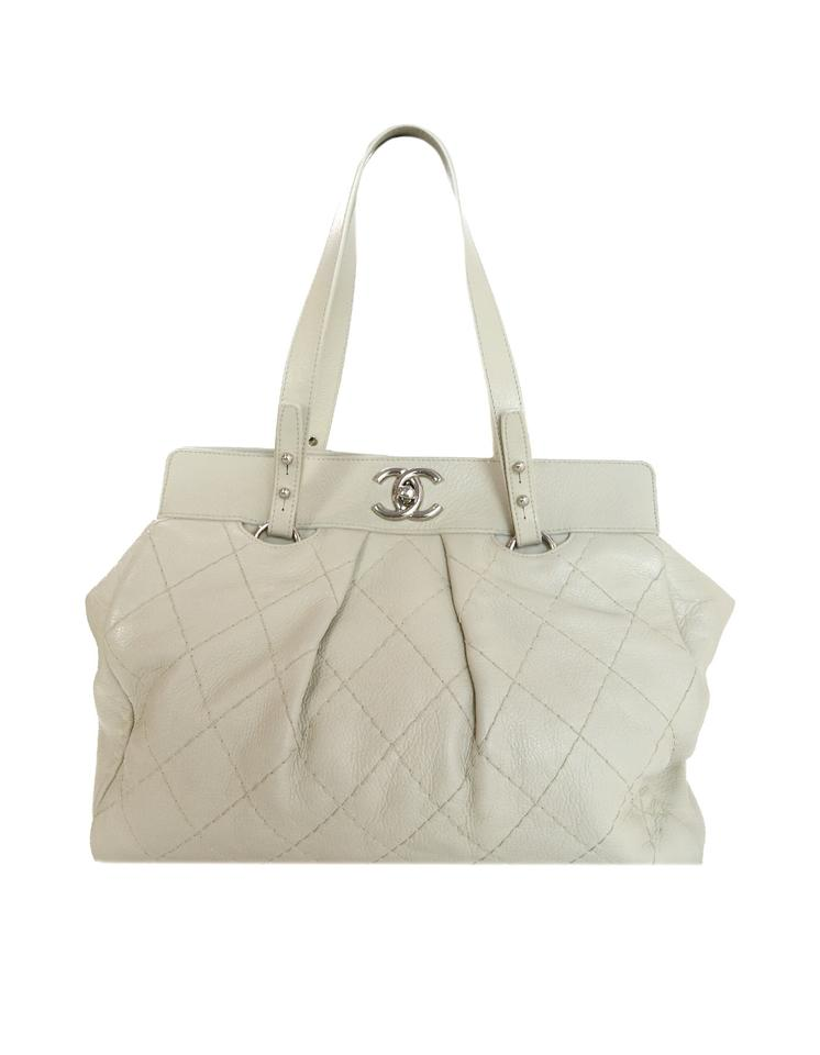 9208ff6dec0c Chanel Shopping Quilted On The Road Ivory Leather Tote - Tradesy