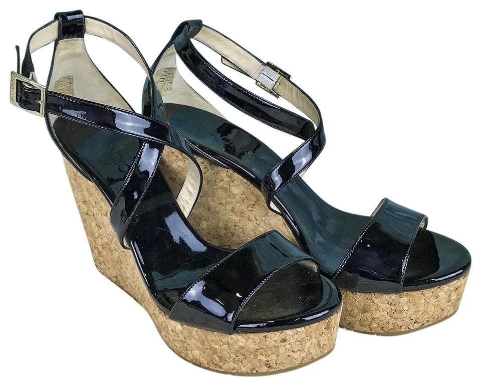 26b6875ba181 Jimmy Choo Black Patent Leather Portia Ankle Strap Sandals Sale ...