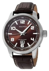 Nautica N13552G Men's Brown Leather Band With Brown Analog Dial Watch