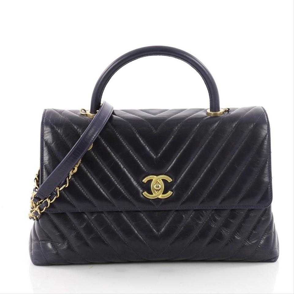 7b3f51cc5f9be Chanel Coco Top Handle Chevron Large Navy Calfskin Leather Shoulder ...