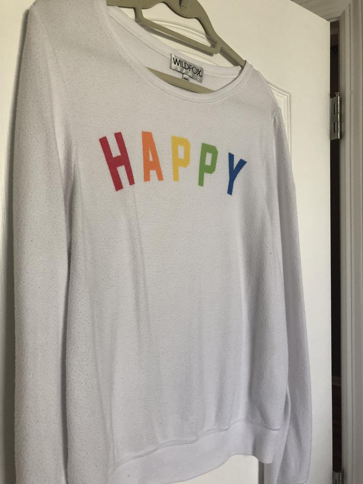 f28bd7c8bd Wildfox White Happy Girl Baggy Beach Jumper Sweatshirt/Hoodie Size 8 ...