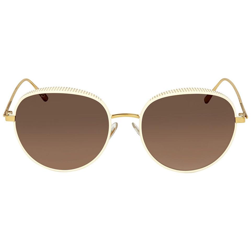 1d3a2a3aa6ff Jimmy Choo Gold Tone Brown Gradient Round Unisex Sunglasses - Tradesy