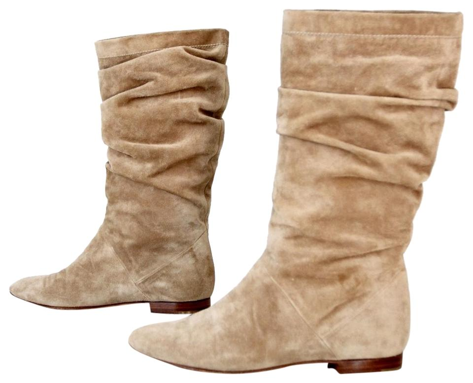 214c941b9ced Brian Atwood Beige Suede Pleated Flat Boots Booties Size US 7 ...