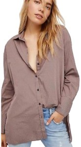 495d64410b416 Free People Button Down Shirt pink and gray stripes
