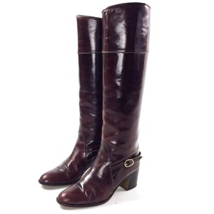 Bally Buckle Burgundy Wine Red Boots