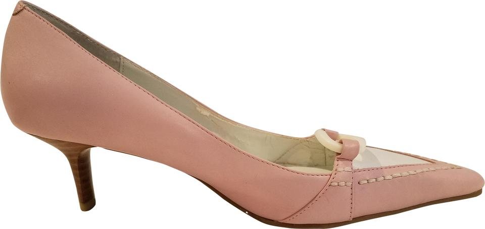 3272b5d6ddfc Etienne Aigner Kitten Leather Two-tone Chic Pale Pink and White Pumps Image  0 ...