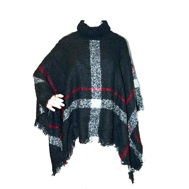 Item - Black Plaid Turtle Neck Check Style Wrap Poncho/Cape Size OS (one size)