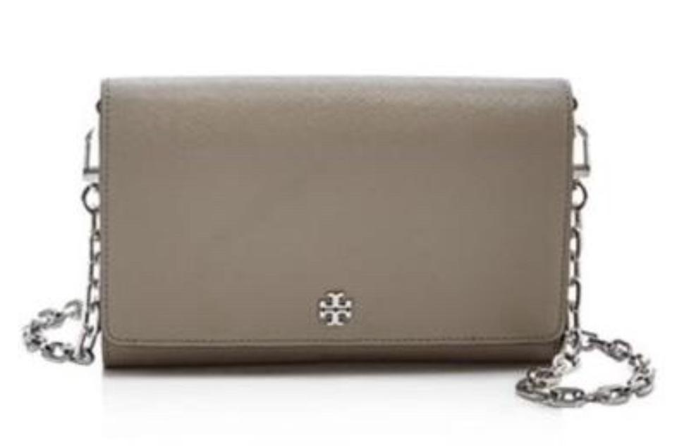 6175274f1777 Tory Burch Robinson Chain Wallet French Gray Saffiano Leather Cross Body Bag