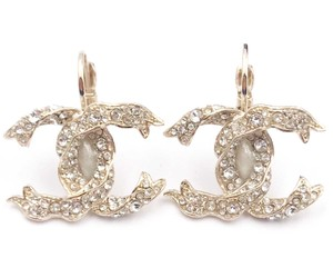 Chanel Chanel Gold CC Ribbon Crystal Large Piercing Earrings